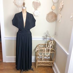 Vintage 1940's Black Open Back Evening Maxi Gown 4